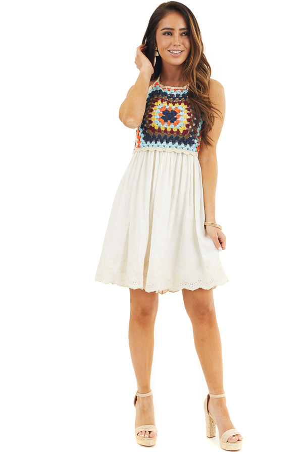 Champagne Halter Dress with Multicolor Crocheted Overlay front full body