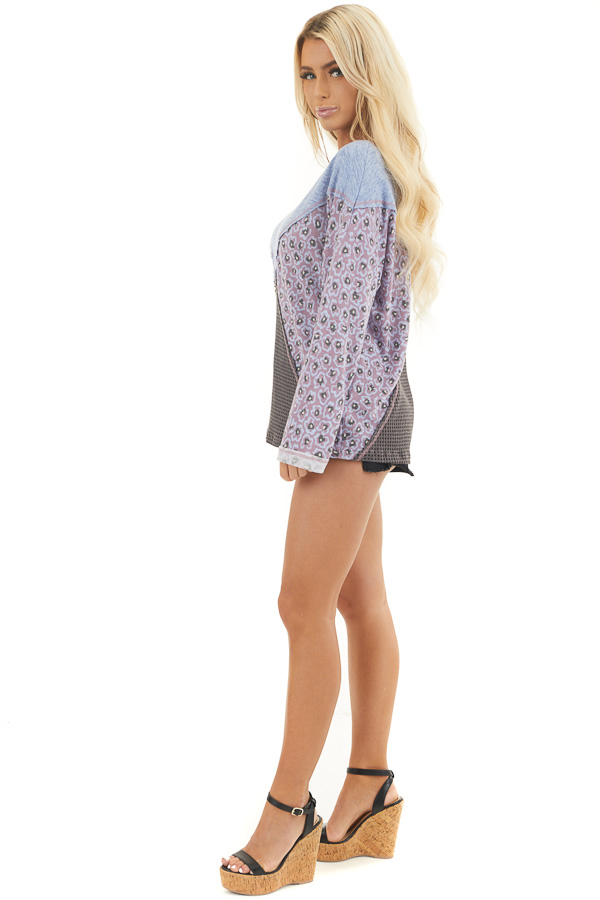 Faded Blue and Lilac Colorblock Top with Long Sleeves side full body