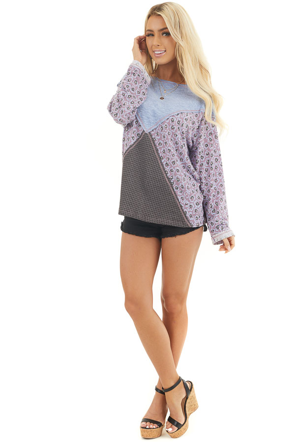 Faded Blue and Lilac Colorblock Top with Long Sleeves front full body