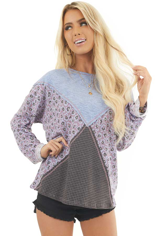 Faded Blue and Lilac Colorblock Top with Long Sleeves front close up
