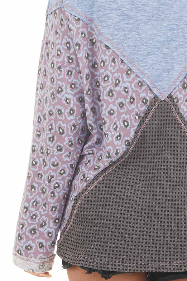 Faded Blue and Lilac Colorblock Top with Long Sleeves detail