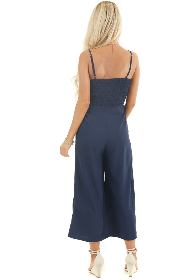 Navy Sleeveless Jumpsuit with Peek A Boo Chest and Tie back full body