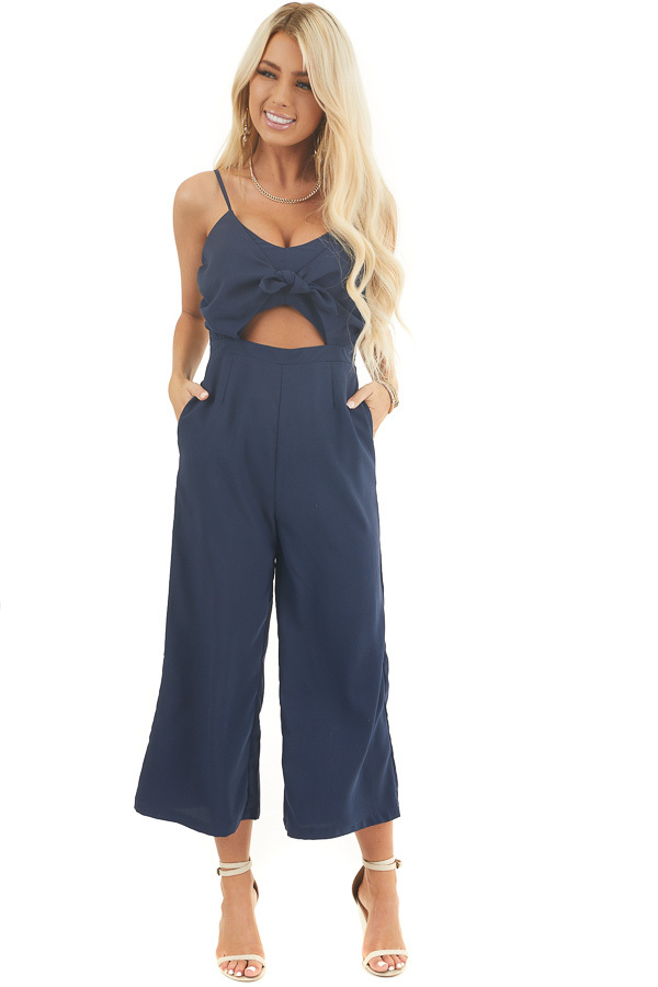 Navy Sleeveless Jumpsuit with Peek A Boo Chest and Tie front full body