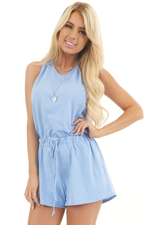 Soft Blue Sleeveless Elastic Waist Romper with Back Tie front close up
