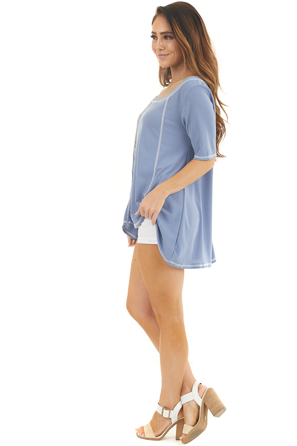 Dusty Blue Short Sleeve Top with Exposed Stitching Details side full body