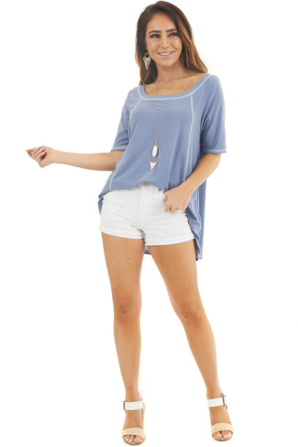 Dusty Blue Short Sleeve Top with Exposed Stitching Details front full body