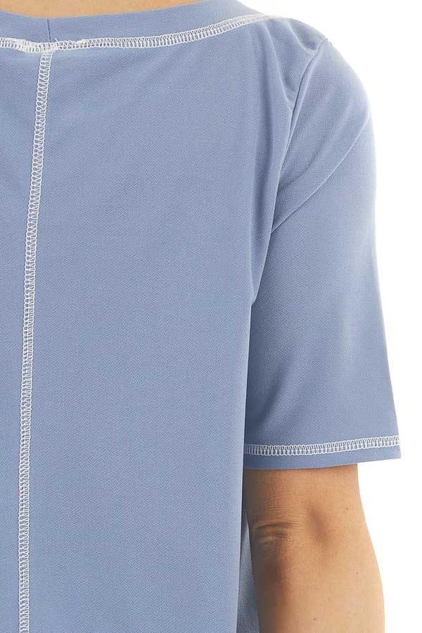 Dusty Blue Short Sleeve Top with Exposed Stitching Details detail