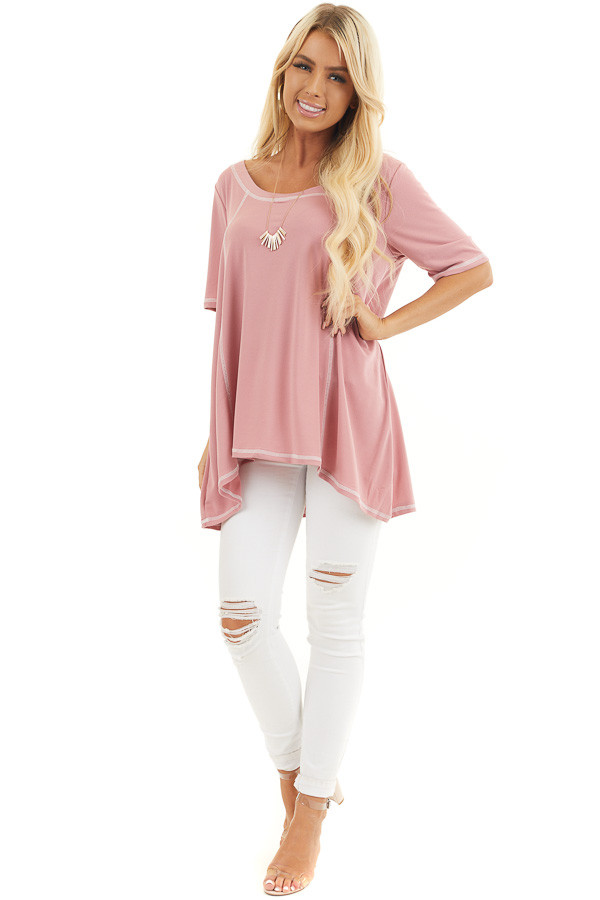 Dusty Rose Short Sleeve Top with Exposed Stitching Details front full body