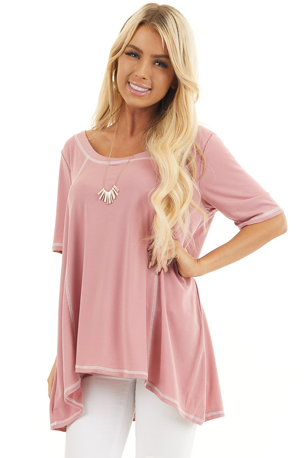 Dusty Rose Short Sleeve Top with Exposed Stitching Details front close up
