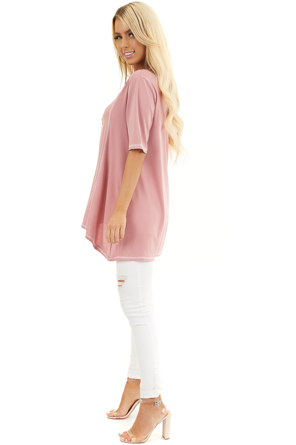 Dusty Rose Short Sleeve Top with Exposed Stitching Details side full body