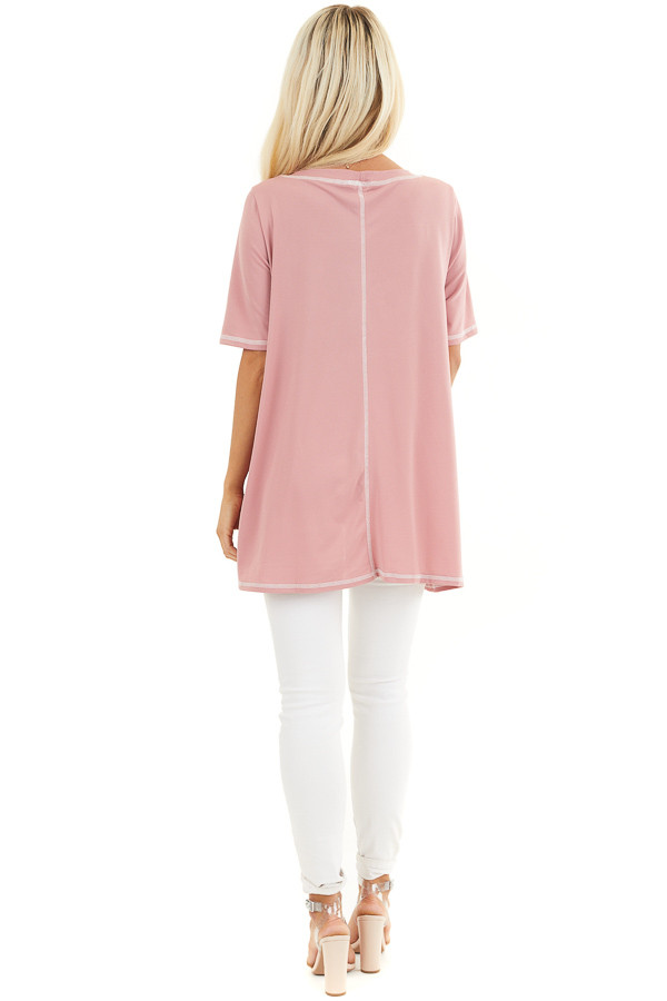 Dusty Rose Short Sleeve Top with Exposed Stitching Details back full body