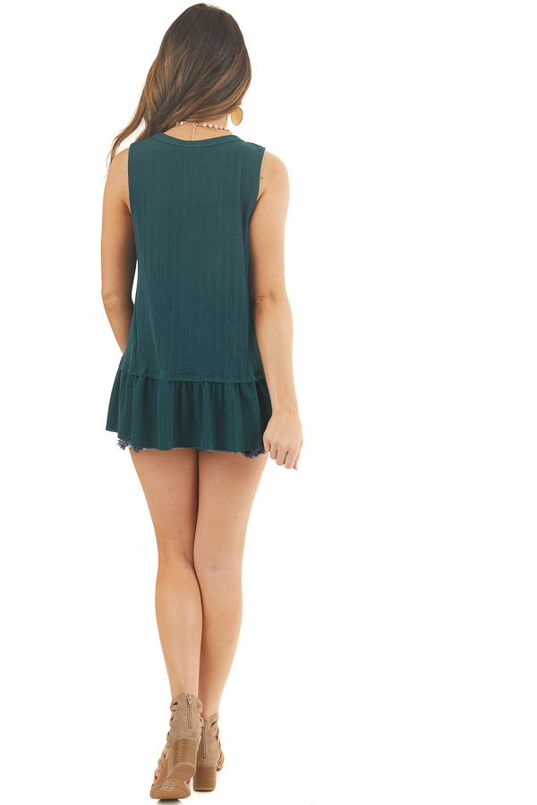 Hunter Green Textured Ribbed Tank Top with Ruffle Hemline back full body