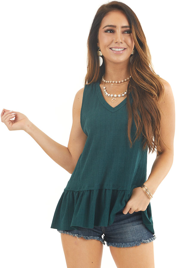 Hunter Green Textured Ribbed Tank Top with Ruffle Hemline front close up