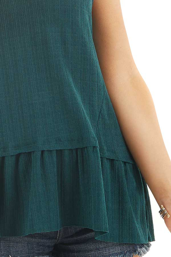 Hunter Green Textured Ribbed Tank Top with Ruffle Hemline detail