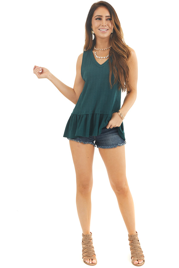 Hunter Green Textured Ribbed Tank Top with Ruffle Hemline front full body