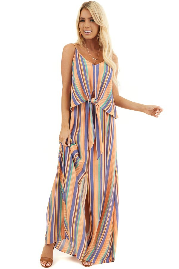Orange Multicolor Striped Sleeveless Maxi Dress with Overlay front full body