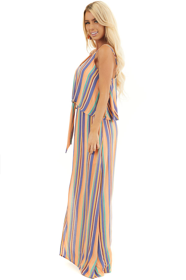 Orange Multicolor Striped Sleeveless Maxi Dress with Overlay side full body