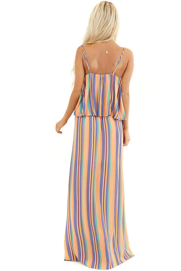 Orange Multicolor Striped Sleeveless Maxi Dress with Overlay back full body