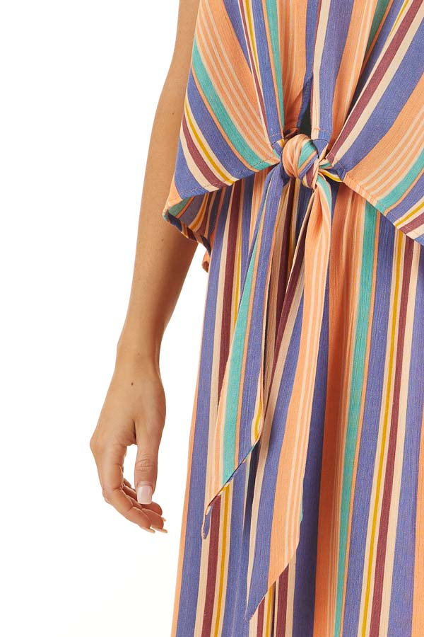 Orange Multicolor Striped Sleeveless Maxi Dress with Overlay detail