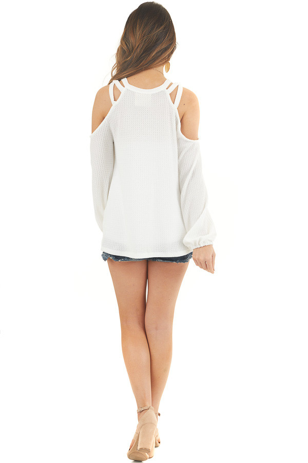 Off White Waffle Knit Long Sleeve Cold Shoulder Top back full body