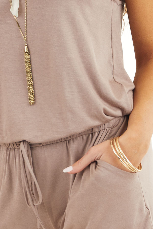 Mocha Sleeveless Romper with Front Tie and Pockets detail
