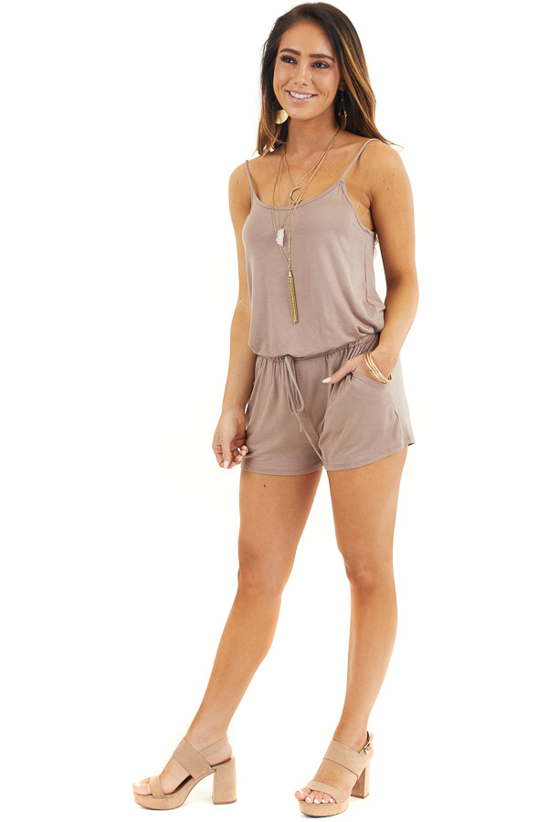 Mocha Sleeveless Romper with Front Tie and Pockets front full body