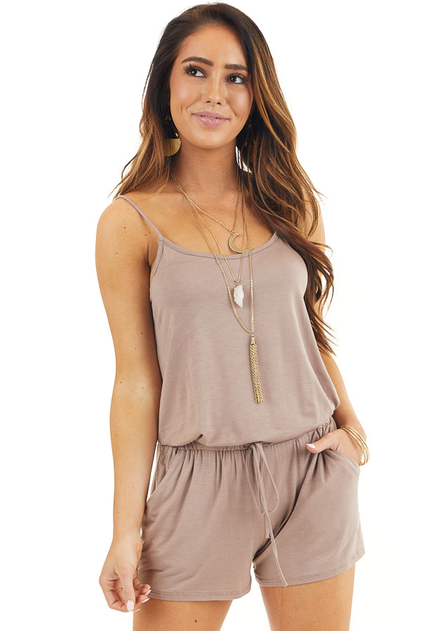 Mocha Sleeveless Romper with Front Tie and Pockets front close up