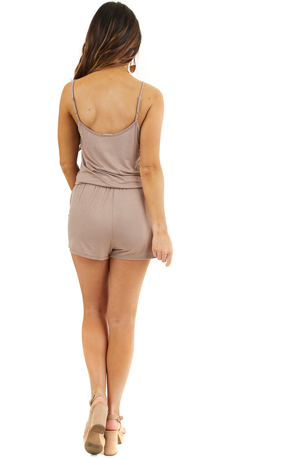 Mocha Sleeveless Romper with Front Tie and Pockets back full body