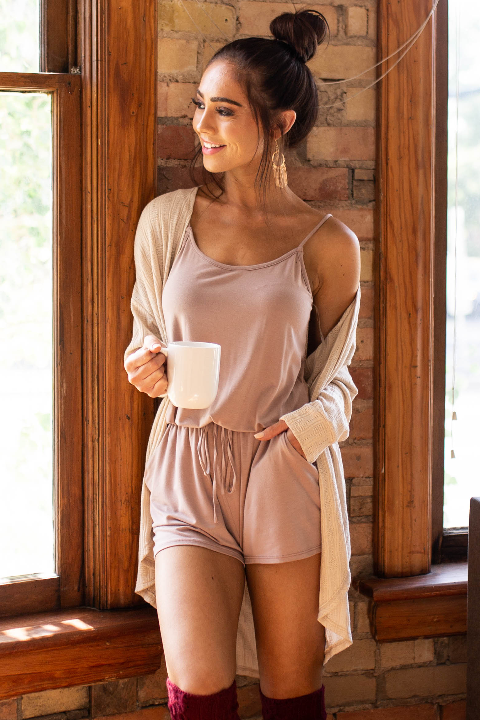 Mocha Sleeveless Romper with Front Tie and Pocket