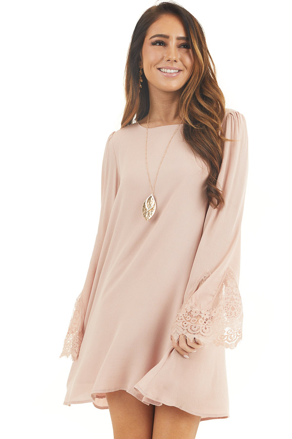 Dusty Blush Dress with Long Bell Sleeves and Lace Details front close up