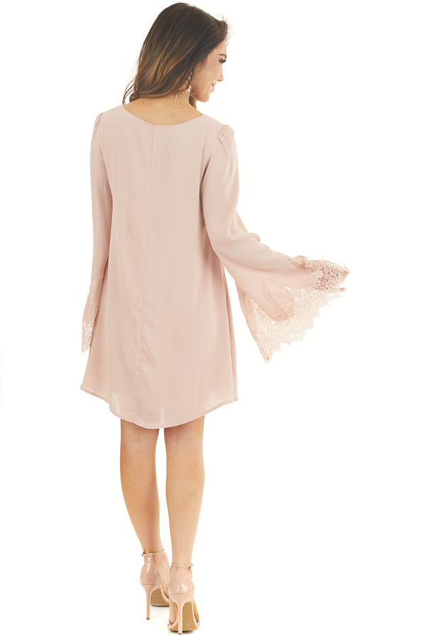 Dusty Blush Dress with Long Bell Sleeves and Lace Details back full body