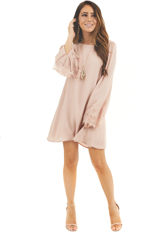 Dusty Blush Dress with Long Bell Sleeves and Lace Details front full body