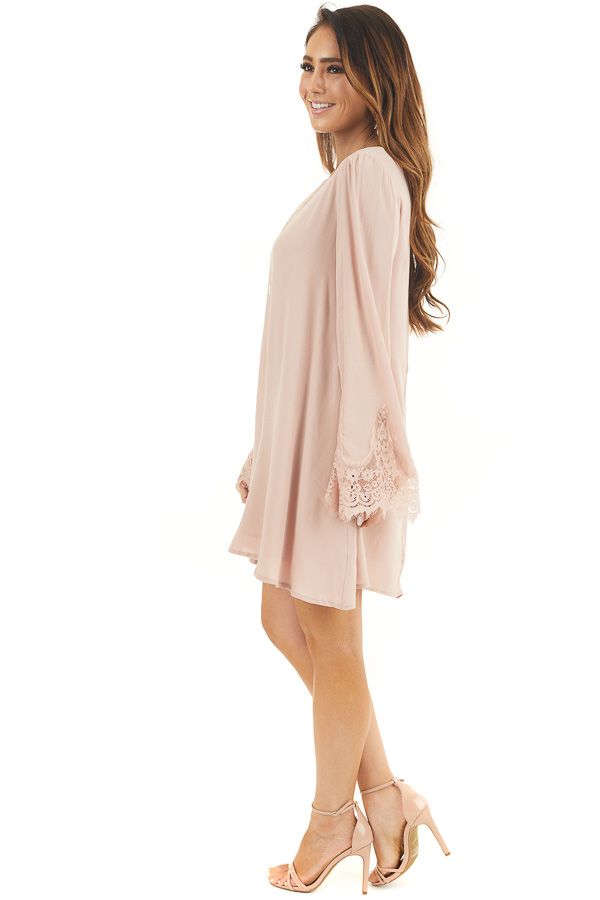 Dusty Blush Dress with Long Bell Sleeves and Lace Details side full body