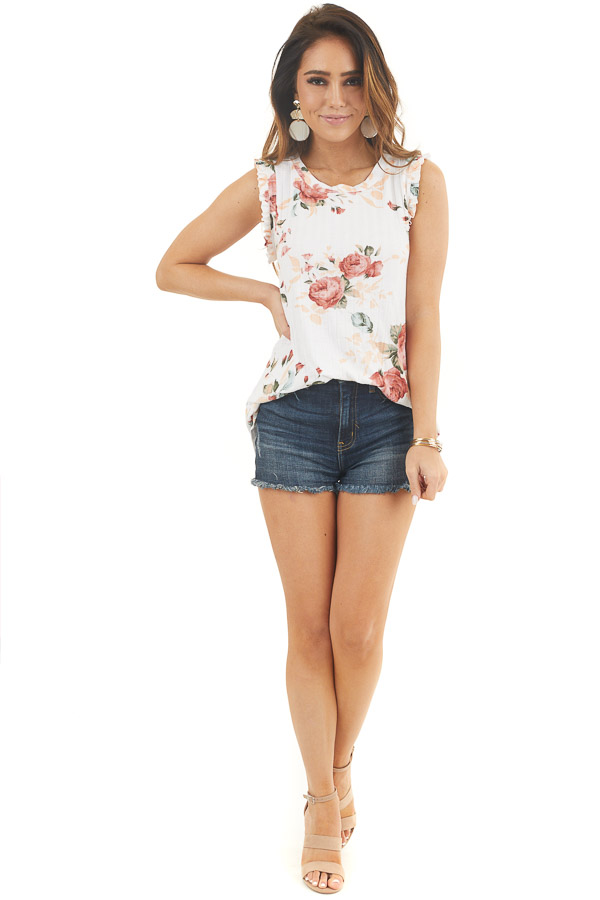 Ivory Floral Ribbed Knit Tank Top with Ruffle Details front full body