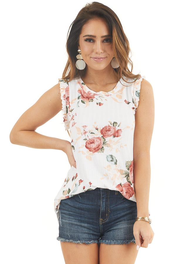Ivory Floral Ribbed Knit Tank Top with Ruffle Details front close up