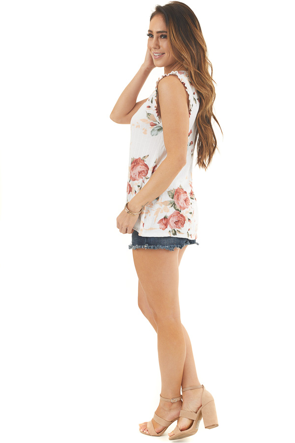 Ivory Floral Ribbed Knit Tank Top with Ruffle Details side full body