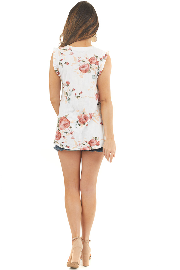 Ivory Floral Ribbed Knit Tank Top with Ruffle Details back full body