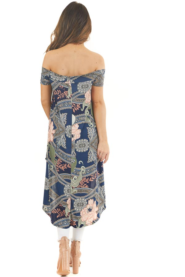 Navy Blue Printed Off Shoulder Top with High Low Hemline back full body