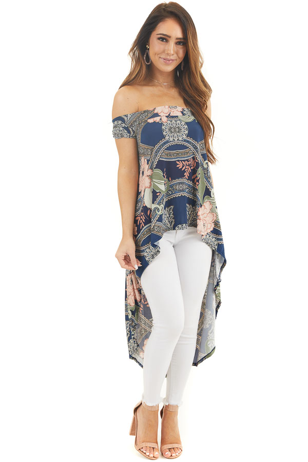 Navy Blue Printed Off Shoulder Top with High Low Hemline front full body