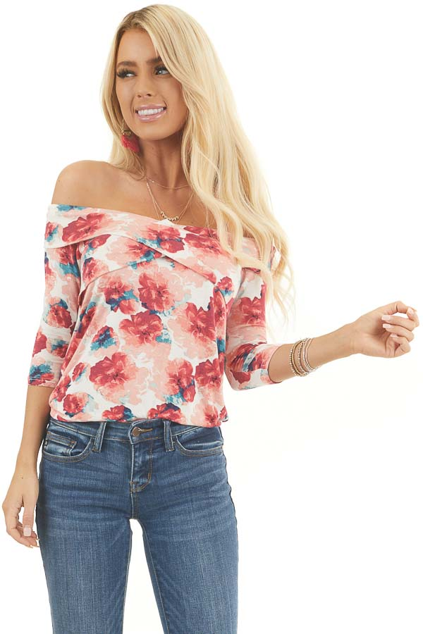 Blush Floral Print Off Shoulder Top with Criss Cross Front front close up