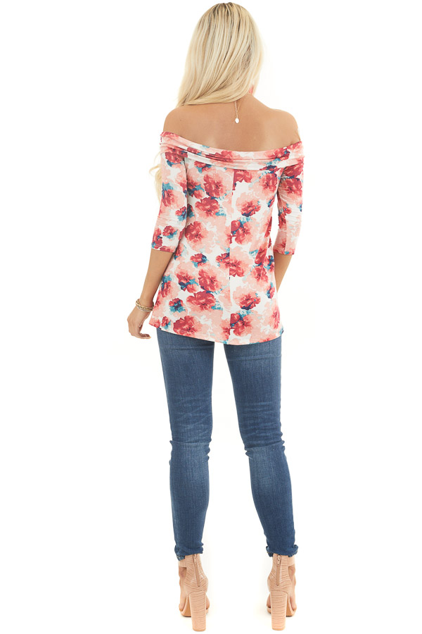 Blush Floral Print Off Shoulder Top with Criss Cross Front back full body