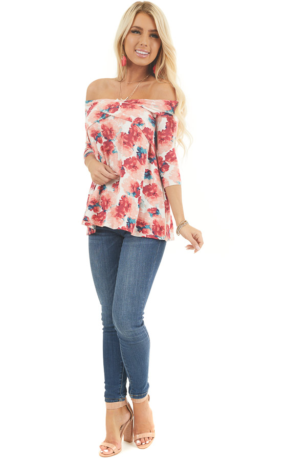 Blush Floral Print Off Shoulder Top with Criss Cross Front front full body
