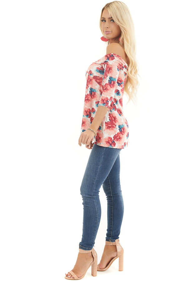 Blush Floral Print Off Shoulder Top with Criss Cross Front side full body