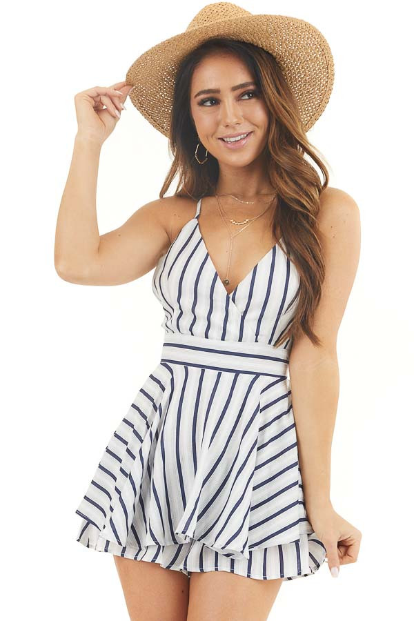 White and Navy Striped Sleeveless Romper with Skirt Overlay front close up