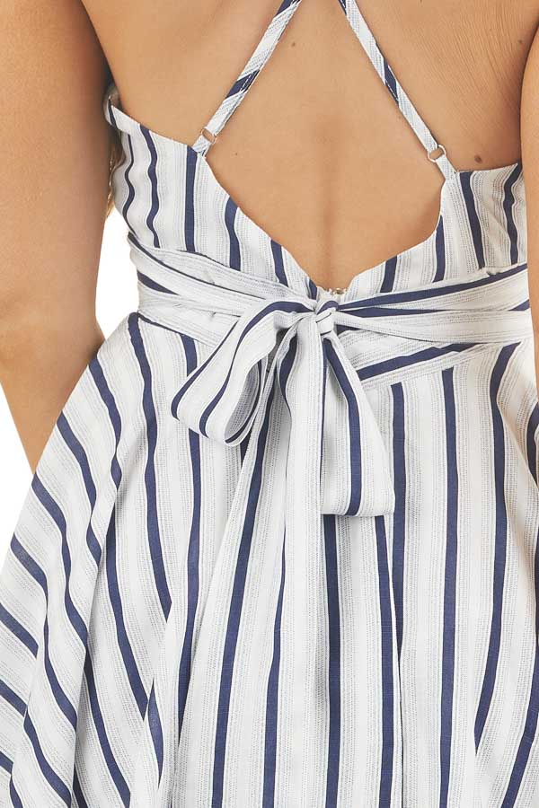 White and Navy Striped Sleeveless Romper with Skirt Overlay detail