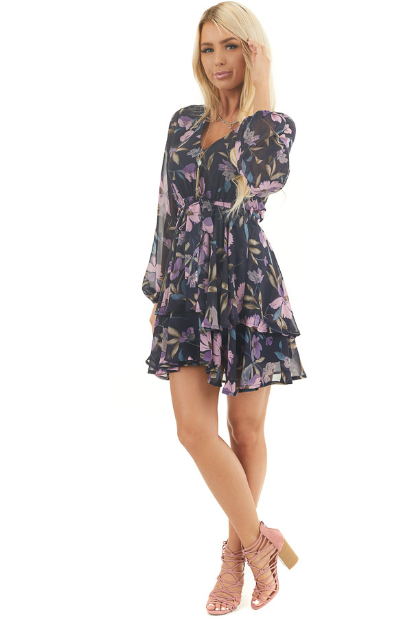 Navy Floral Print Long Sleeve Dress with Layered Skirt front full body