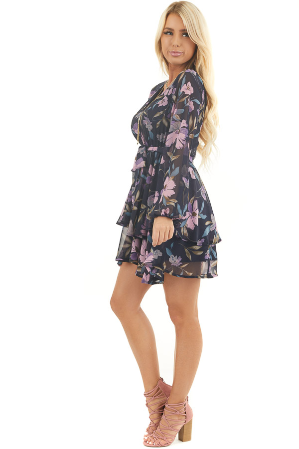Navy Floral Print Long Sleeve Dress with Layered Skirt side full body