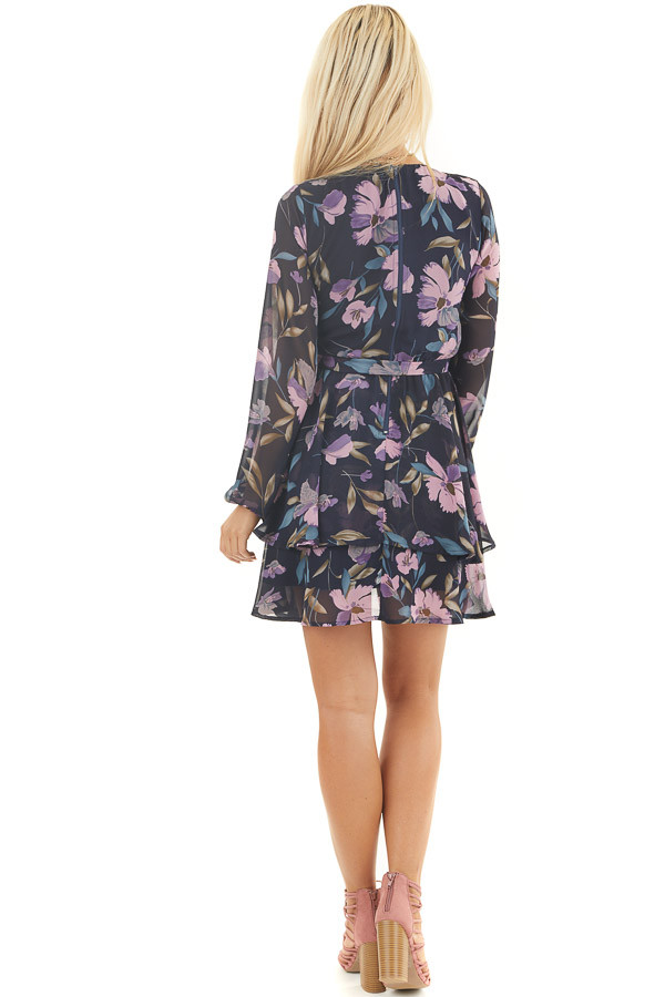 Navy Floral Print Long Sleeve Dress with Layered Skirt back full body