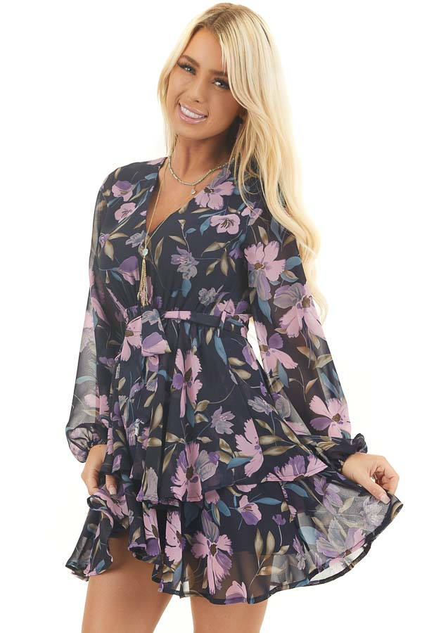 Navy Floral Print Long Sleeve Dress with Layered Skirt front close up