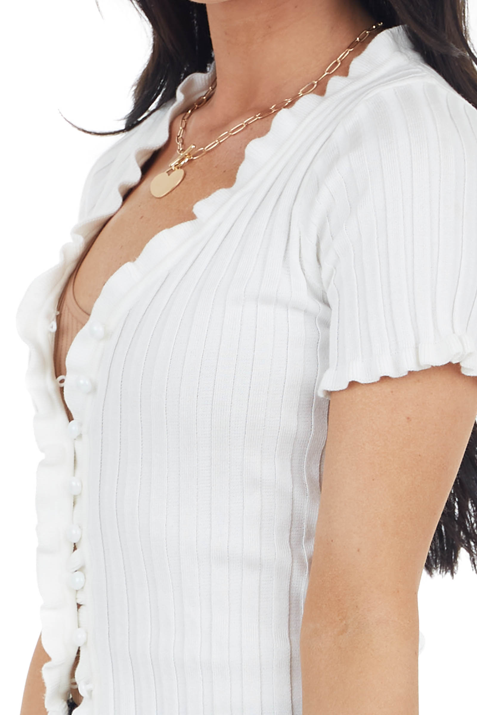 Off White Button Up Ribbed Knit Top with Ruffle Trim